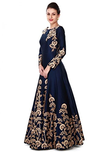 d69a59a61c Buy Siddeshwary Fab Women s Multi Color Taffeta Silk Embroidered Gown for  Women (Red Blue) on Amazon