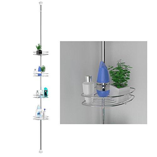 Bathwa mensola per doccia telescopica in acciaio inox, mensola bagno con 4 ripiani e ganci triangolari regolabili in altezza da 192 cm a 310 cm