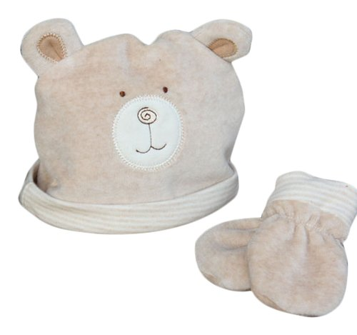 Natures Purest Adorable Hat & Mitts Baby Velour Set. Hug me Bear Baby Velours-set