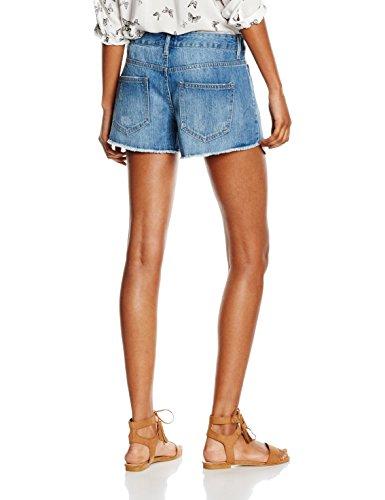 PIECES Damen Pcjust Brandy Rmw Printed Shorts/Lbld Blau (Light Blue Denim)