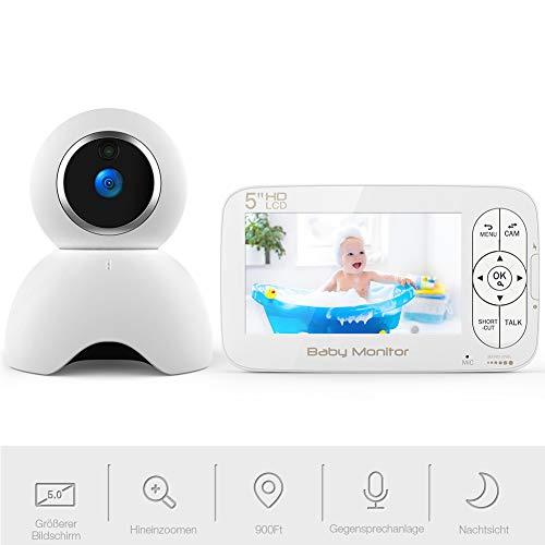Babyphone mit kamera 720P, Video Überwachung mit 5.0 Zoll HD LCD Bildschirm, Baby Monitor, PTZ, Dual Audio, Schlafmodus, Nachtsicht Kamera, Temperatursensor, Schlaflied