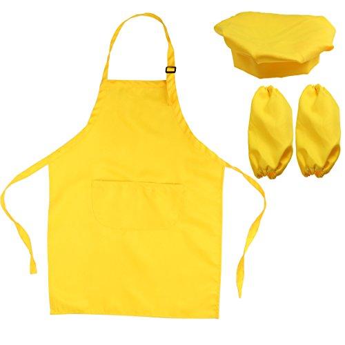 -Set Kinderschürze Hut und Cooking Ärmel Kinder Chef Set zum Kochen Backen Malerei oder Dekoration (gelb) ()