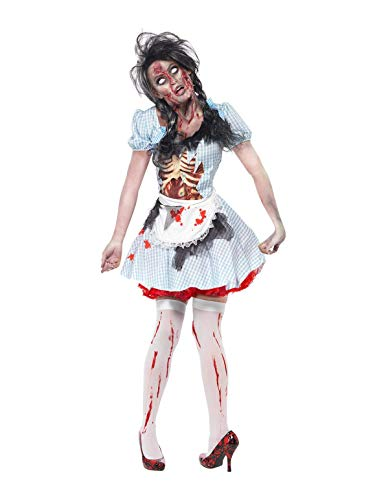 Smiffys Adult Women's Horror Zombie Countrygirl Costume, Dress with Latex Chest Piece and Apron, Zombie Alley, Halloween, Size: S, 21579