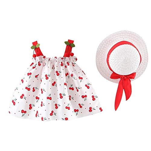 KIMODO Baby Mädchen Blumendruck Gerüscht Rundhals Kleid Ärmellose Urlaub Sommerkleid Kleinkind Prinzessin Kleidung Outfit + Hut Set