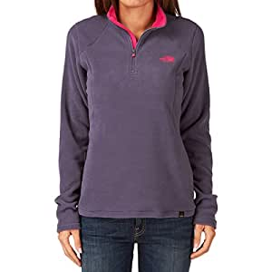 The North Face Women's 100 Glacier Full-Zip Fleece Pullover Grigio Greystone/Blu Size:x-Small