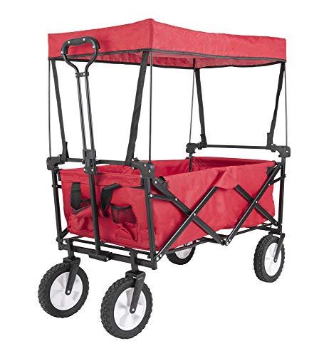 Gutgojo Bollerwagen faltbar mit Dach Handwagen Transportkarre Gerätewagen 360 ° drehbar belastbar bis 100 kg (Rot)