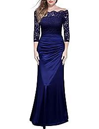 Miusol Damen Elegant Cocktailkleid Spitzen Vintage Kleid Off Schulter Brautjungfer Langes Abendkleid Dunkelblau Gr.S-XXL