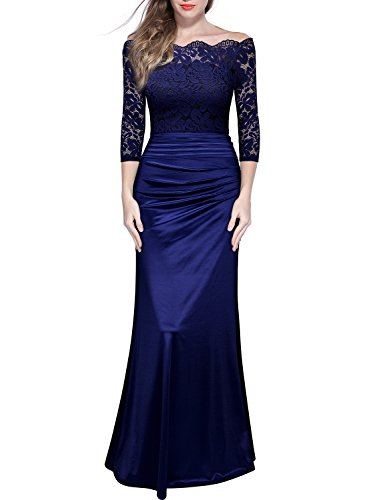 Miusol Damen Elegant Cocktailkleid Spitzen Vintage Kleid Off Schulter Brautjungfer Langes Abendkleid...