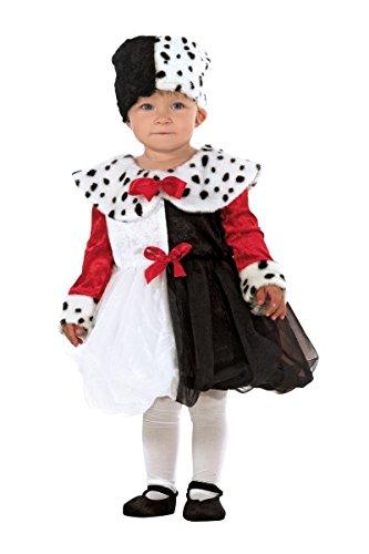 Babykostüm Lady Cruella, Kinderkostüm 101 Dalmatiner, (Kostüm 101 Mädchen Dalmatiner)