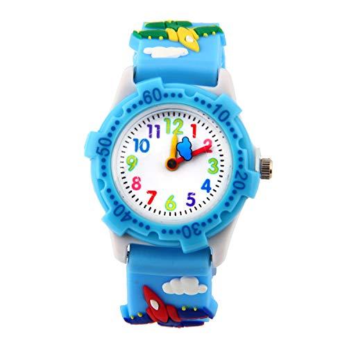 Weiyonghe Kinder-Armbanduhr farbige Zeiger Kinderuhr Mädchenuhr Kinder Armbanduhr Mädchen Jungen Analog Uhr Quarz Weiss blau