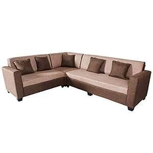 Bharat Lifestyle Cosmo Plus Fabric 6 Seater (Finish Color - Cream & Brown)