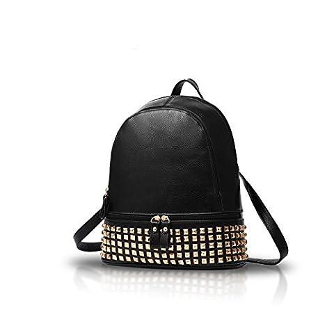 Nicole&Doris New Nieten Zipper Mode Reisetaschen Mädchen-Schule-Taschen Rucksäcke PU-Leder-Handtasche (Zaino In Pelle Nera Borse)