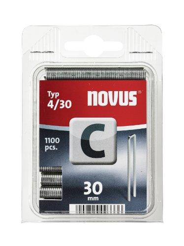 Novus Schmalrückenklammern 30 mm, Klarsichtverpackung, 1100 Klammern, Typ C4/30, für Profilhölzer und Holzfaserplatten
