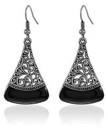 Youbella Black Silver Plated Oxidised Dangle & Drop Earrings For Women