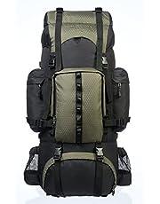 AmazonBasics Internal Frame (Hardback) Hiking Backpack with Raincover, 65Liters (Green)