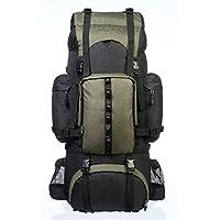 AmazonBasics - Zaino da escursionismo con telaio interno e cerniera antipioggia, 65 L, Verde