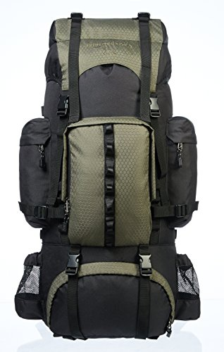 AmazonBasics ZH1704012D Internal Frame Hiking Backpack with Rainfly, 65Liters (Green)