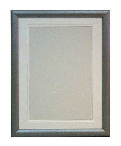 R7Silber Bilderrahmen mit doppeltem Passepartout,, Kiefer, White Double Mount, 41 x 30 cm, Bildgröße: 30 x 20 cm