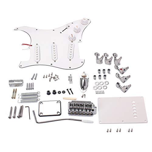 LIOOBO DIY Zubehör Set für E-Gitarre, Brückensystem, Stil ST Komplettset Zubehör (weiß)