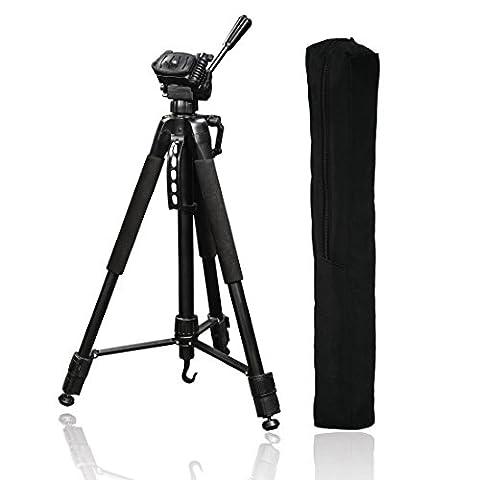 Hama Fotostativ Action 165 3D (Höhe 61–165 cm, Gummifüße und Spikes, Belastbarkeit bis 4 kg, Gewicht 1320 g leicht, Kamera Stativ inkl. Tragetasche) schwarz