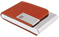 7Trees Pu Leather Magnetic Closure Brown Business Card Holder