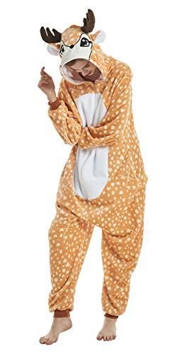 Für Erwachsene Kostüm Hirsche - Yuepin Onesie Tier Pyjamas, Erwachsene Unisex Pyjamas Cosplay Kostüm Comic Homewear Tägliche Nachtwäsche (Hirsch, XL)