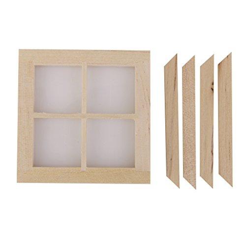 fenster puppenhaus Gazechimp Puppenhaus Miniatur Fenster Holz 7x 7cm