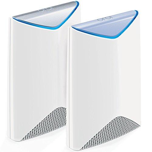 Netgear Orbi Pro SRK60-100EUS AC3000 Tri-band Mesh WLAN System (funktioniert mit Alexa, Daisy Chain, MU-MIMO, mit bis zu 350 m2 Raumabdeckung, QoS, Beamforming, Single SSID, 3x Wireless-Netzwerke und 7x Gigabit Ports) weiß