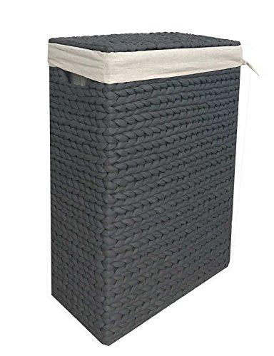animal-design Nischen-Wäschekorb Wäschesammler Wäschebox Wasserhyazinthe grau mit Stoffeinsatz Gr.1