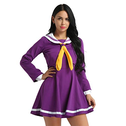 YOOJIA 4 Pcs Japanische Schuluniform Matrosenanzug Sailor Uniform Schulmädchen Kostüm Marine-Kostüm Anime Cosplay Kostüm Outfit M-XL Violett Small (Japanische Schulmädchen Matrose Uniform Cosplay Kostüm)