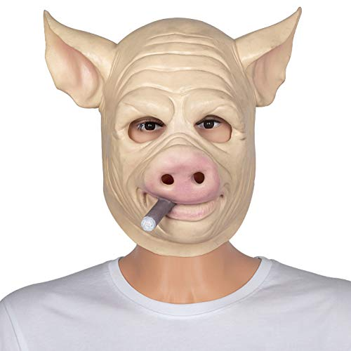 FLTVSN Halloween-Maske Adult Halloween Rauchschwein Maske Creepy Latex Party Unisex Scary Pig Kopf Maske Animal Joker Kostüm   Maske (Zombie Pig Kostüm)