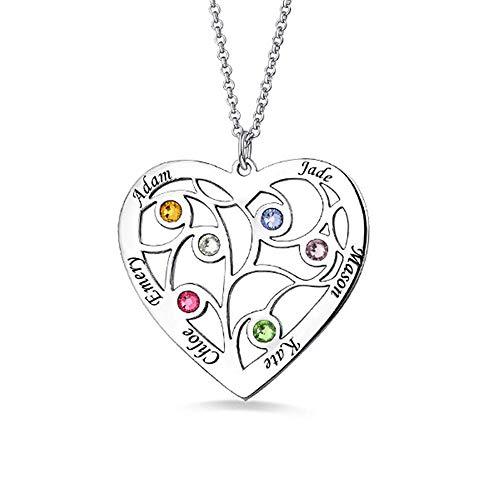Personalisierte Herz-Familienstammbaum Birthstone-Halskette, die 6 Namen graviert - 925 Sterlingsilber-Gold Rose Vergoldung Namensschild (Mutter Der Bräutigam-anhänger)