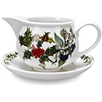 The Holly & Ivy Gravy Boat and Stand, Ceramic, Multi-Colour