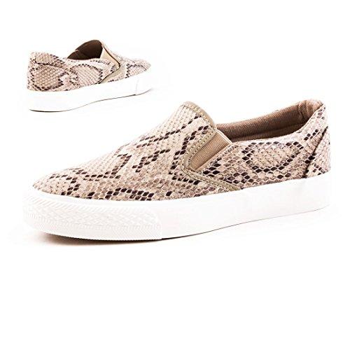 Stylische Damen Sneaker Sommer Slipper in hochwertiger Lederoptik Khaki