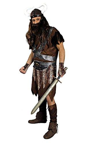 ikinger-Kostüm Herren Nordmann-Kostüm mit Wikinger Helm Herren-Kostüm Größe 54/56 ()