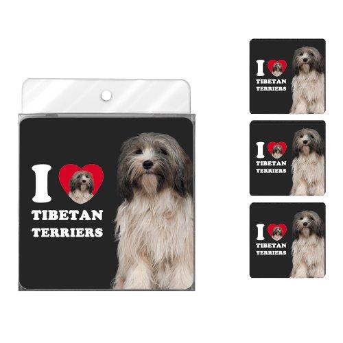nc39132I Heart Hunderasse Tibet Terrier 4er Pack Künstlerische Untersetzer Set, grau und weiß -