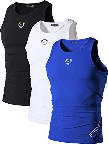 jeansian Herren Sportswear 3 Packs Sport Quick Dry Compression Tank Tops Vests Shirt LSL3306 PackB XL