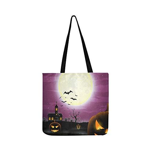 Halloween Scary Field Canvas Tote Handtasche Schultertasche Crossbody Taschen Geldbörsen für Männer und Frauen Einkaufstasche