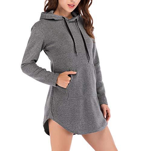 Damen Hood Frauen Kapuzenpullover Hoodie Pullover mit Kapuze MYMYG Cross-Over-Kragen und Tasche Innenseite (Dunkelgrau,EU:40/CN-2XL)