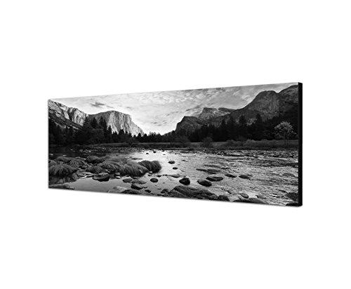 Keilrahmenbild Panoramabild SCHWARZ / WEISS 150x50cm Yosemite Berge See Landschaft Natur