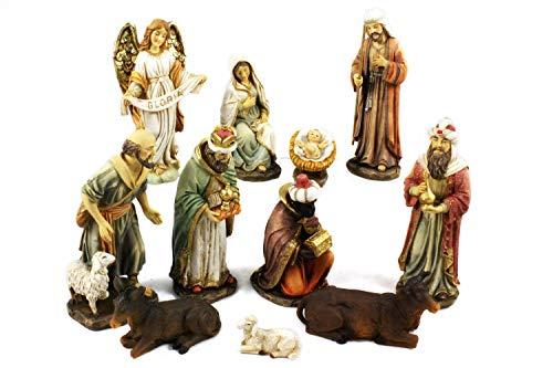 Unbekannt Krippenfigurenset aus Poly, Heilige Familie, Heilige 3 Könige, Engel und Hirte (0941010)