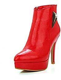 VogueZone009 Donna Scarpe A Punta Tacco Alto Luccichio Bassa Altezza Stivali  con Metallo c7cec7ae9a9
