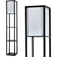 MiniSun – Moderna lámpara 'Struttura' - de pie de madera negra y tela blanca - con 3 repisas