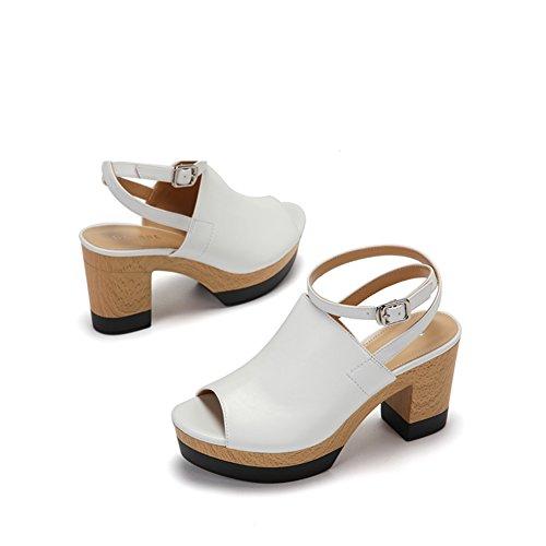 Ladies Comfort Plate-forme étanche Chaussures De Banlieue Talon Rugueux,Une Boucle De Poissons Sandales A