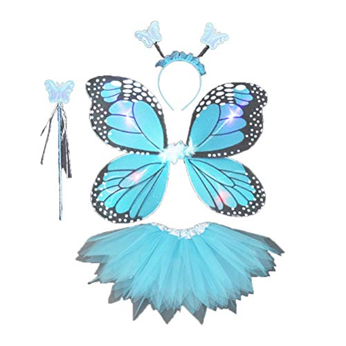 Amosfun 3-teiliges Set Mädchen-Kostüm, Feenflügel, Schmetterlings-Kostüm, Flügel, Zauberstab und Halo zum Verkleiden von Rollenspielen, Himmelblau (Mädchen Für Halo-kostüme)