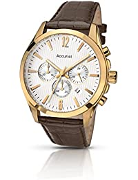 Accurist Men's Quartz Watch with Silver Dial Chronograph Display and Brown Leather Strap Ms641S