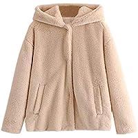 Keepwin Frauen Winter Wärme Dicke Kapuze Mantel Solide Taschen Tasten Jacke Strickjacke