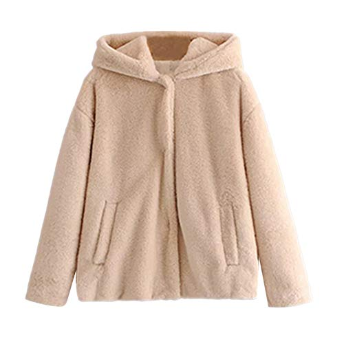 IMJONO Frauen Winter Warm Thick Coat Solid Pockets Hooded Jacket Cardigan (Large,Beige)