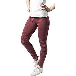 Urban Classics Leggings Denim Jersey - Leggings de deporte Mujer, Multicolor (Burgundy), X-Small (Talla del fabricante: X-Small)