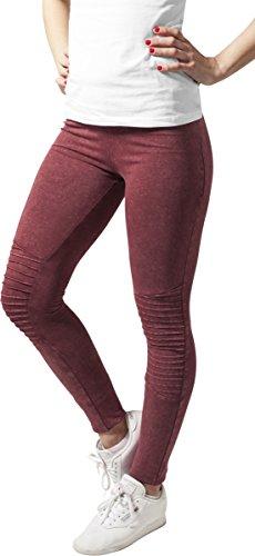 Urban Classics Damen Sport Legging Leggings Denim Jersey mehrfarbig (Burgundy) X-Large